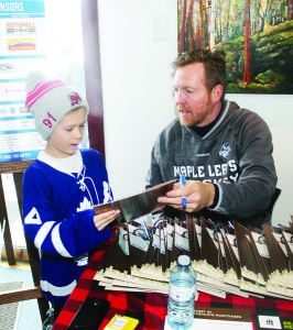 Former Leaf Gary Leeman found time to sign autographs for his many admirers, like Joey Martin, 8, of Erin.