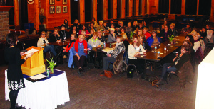 There were about 50 women on hand for the first meeting last Wednesday of the Caledon chapter of 100 Women Who Care at Caledon Ski Club. They heard from representatives of three charities, and voted to give the evening's proceeds to Caledon Meals on Wheels. Photo by Bill Rea