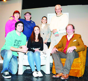 The cast of the Caledon Townhall Players' production of Things My Mother Taught Me consists of (back row) Sharon Ching, Dale Pringle, Silvana Di Bello, Brian Molleur, (front row) Kyle Adams, Stephanie Williams and Daniel Olien.