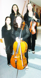 ENSEMBLE PERFORMED AT CHAMBER CONCERT The latest performance in the Caledon Chamber Concerts series featured the Ensemble Made in Canada. The Ensemble consisted of Angela Park on piano, Rachel Mercer on cello, Elissa Lee on violin and Sharon Wei on viola. The program included works by Mozart and Brahms. Photo by Bill Rea