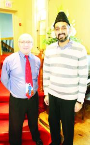 INTER-FAITH WORSHIP SERVICE IN BOLTON Bolton United Church was the scene last Sunday of an inter-faith worship service, which was held in response to recent events. Imam Farhan Iqbal from Maple joined Rev. Jeff Werner as guest speaker at the service. Photo by Bill Rea
