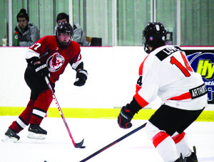 The midget AA Caledon Hawks took down the Orangeville Flyers 9-1 at Alder Arena Friday to take the lead in the OMHA semifinals. Photo by Jake Courtepatte