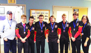 The Humberview Huskies curling team received their medals at the ROPSSAA finals. Seen here are Mr. McLenaghan, Ryan Antiochus, Ethan Mumford, Jonathan Quintal, Mike Triglav, Chris Dywanski, William Gates-Crease and Ms. Quintal.