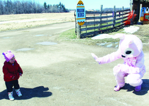 Chloe Steeves, 18 months, of Scarborough, was a little nervous when it came to giving a High-Five to the Easter Bunny.