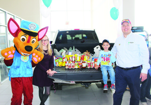 Many out to meet the Paw Patrol The showroom at Fines Ford Lincoln was packed Saturday morning, and not with cars. A large crowd of children and their parents were on hand to meet characters from Paw Patrol. The event was also aimed at collecting contributions to the Food Bank run by Caledon Community Services. Henry Martins, 4, was standing by the contributions, joined by Chase, his mother Katie Fines and his father, Fines Ford General Manager Carlos Martins. Photos by Bill Rea