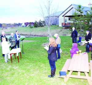 Up at sunrise to greet Easter Many people get up early Easter Sunday to attend Sunrise Services, and that was the case in Caledon Sunday. The faithful were on hand at Spirit Tree Cidery before dawn to greet the morning at the service conducted by Rev. Mary Campbell of Claude Church.